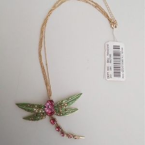 Betsey Johnson New Green Dragon Fly Necklace